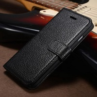 Genuine leather litchi style wallet book case for Iphone 6 4.7 inch with ultra protection and ID credit card slots
