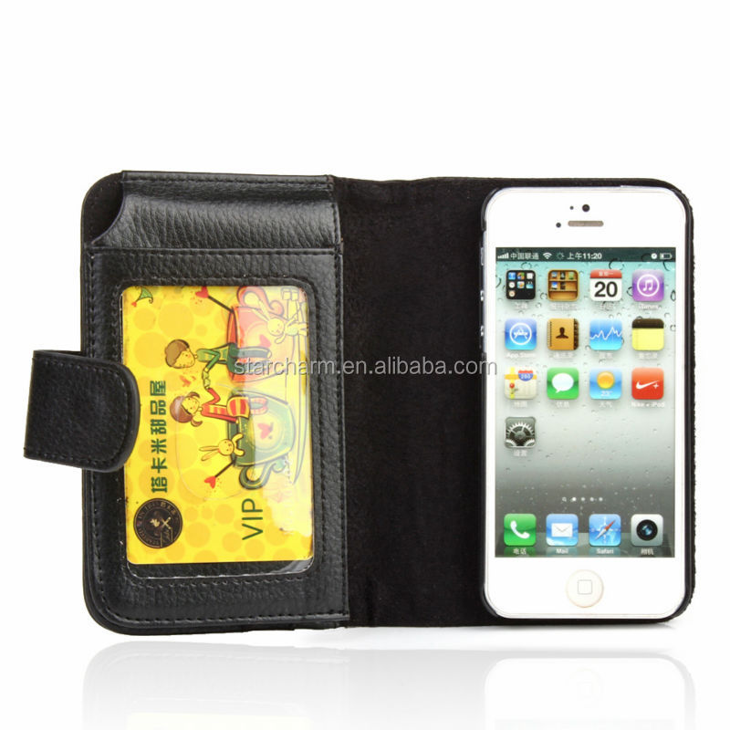 multi-function wallet leather case for iphone 5, case for iphone5