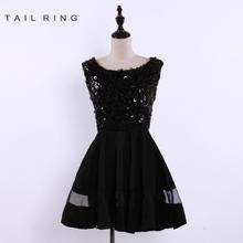 buceo negro lentejuelas cuentas vestido de fiesta