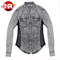 Soft handfeel denim ladies women shirt with side mesh trim design