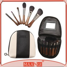 Professional 6 Pcs Natural Cosmetic Animal Hair Make Up Brushes Set Kit & Pouch