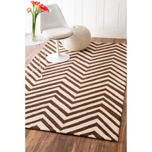 Contemporary Stripe patterm Hand-Hooked Wool Rug