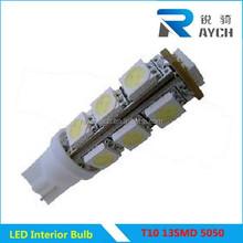 wholesale 12v 13smd 5050 led car light bulb 100% High quality T10 13SMD 5050 SMD Bulbs Side Light 194 168 W5W White LED Wedge