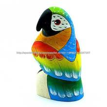 Balsa de Talla de Madera del Pájaro del Loro del Amazonas Hecho al Mano