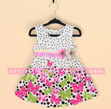 Girls dresses 2015 baby kids children's clothing summer new girls on the idea of two flower Dot Butterfly dress girls fashion dr