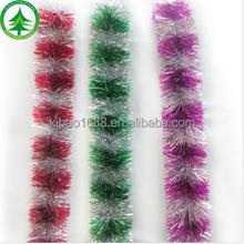 Wholesales promotional christmas ornaments,popular christmas tinsel garland christmas wired ribbon tinsel garland