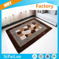 Stone pattern Decorative, Commercial, Home, Bedroom, Hotel room silk shaggy carpet