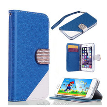 New arrival popular bling leather wallet credit card holder case for iphone 6, for iphone 6 case wallet