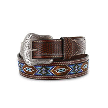 Basket weave embossed ends Men's Aztec Beaded Belt
