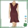 Fashion design wine red ruffle peplum party bandage dress for women