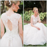Sexy Open Back Light Blush Lace 2013 Designer Wedding Dresses in Karachi with Crystal and Beads