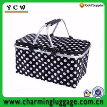 Folding Insulated cooler market basket tote cooler ice cream bag