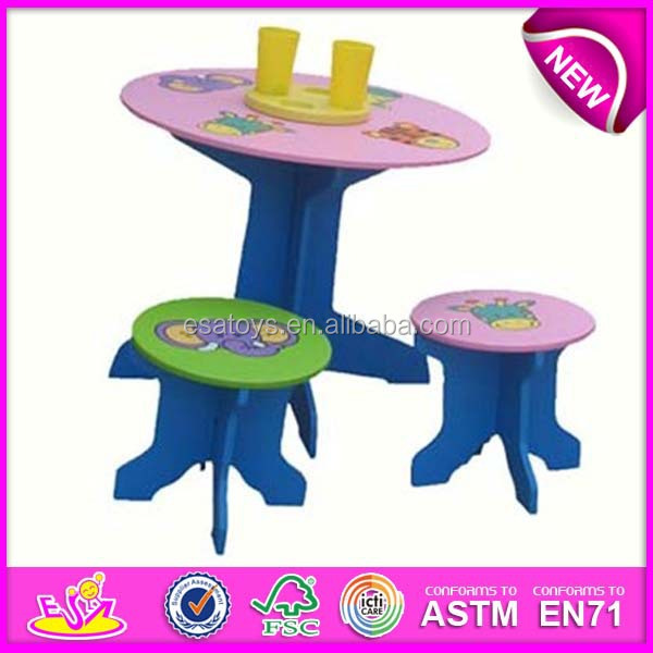cheap kids wooden table and chair set round shape small