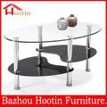 Superior cristal Base de acero inoxidable mesa de café