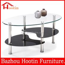 piano in vetro base in acciaio inox tavolino
