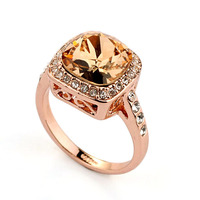 Royal Design!18K Rose Gold Plated with Rhinestones Surrounded Square Champagne Crystal Ring