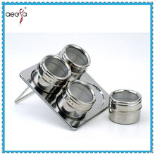magnetic table condiment set glass cruet set with stand