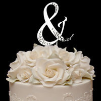 From A to Z French Font Sparkle Wedding Cake Topper monogram