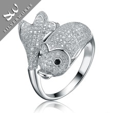 Cute Fish Shaped Solid 925 Sterling Silver 925 price cheap ring Adjustable rings