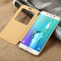 Original BASEUS Terse Leather Series Flid PU Leather Cover Case with View Window Wallet Case For Samsung S6 edge Plus MT-4430