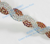 Bling bling Luxury Red Iron On Rhinestone Fabric Trimming Sheet AB colour stone glass bead chain lace DIY decoration accessory
