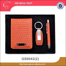 promotional gift set pu leather business card holder and pen gift set