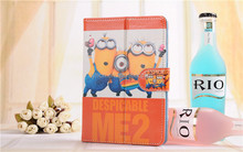 7'' Tablet case cover Despicable Me Minions folio leather case for Ipad for Samsung for acer case folio leather