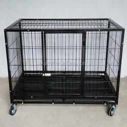 Large dog cage pet dog crates with wheels iron dog crate