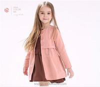 SFK1507138 Fashion Style 2015 Autumn Simple Collarless Jacket Kids Girl Coat