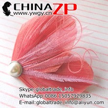 Best selling butterfly clips factory wholesale plume fascinator Coral and Pink Peacock Feather Hair Clip for ladies