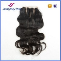 Sunnymay Stock Natural Color Body Wave100% Malaysian Virgin Hair Top Closure Bleached Knots 3 Way Part Lace Closure 5x5