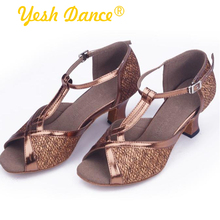 Newest Charming Bronze Dance Shoes Manufacturers China High Heel Leather Upper Freeform Dance Shoes