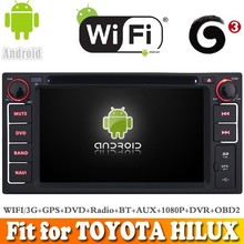 Pure android 4.4 system car dvd gps navigation fit for TOYOTA HILUX 2001 - 2011 WITH CHIPSET WIFI 3G INTERNET DVR OBD2 SUPPORT