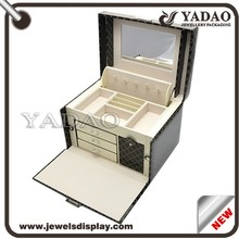 Black large lining leatherette locking mirrored jewelry packaging case wholesale