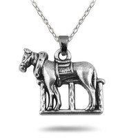 Lead Free Nickle Free Zinc Alloy Stocks Antique Silver Animal Stallion Pendant Link Chain Necklace