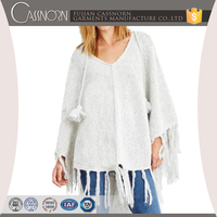 Tasseled plain pullover mohair blend knitted winter sweater ladies poncho