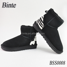 Sheepskin ankle boots,women' fur shoe casual shoe with horehair back heel,popular girl shoe