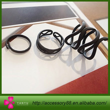 The new fashion hollow black ring sets