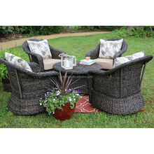 Exquisite garden furniture dramatic design 4 rattan swivel chairs modern sofa set