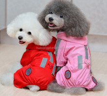 High quality pet dogs reflective raincoat 100% waterproof rain coat with 4 legs for dogs