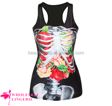 Wholesale Black Cool Womens 3D Flower Skeleton Printed Tank Top BX147