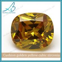 Hot sale golden yellow cushion cut artificial zircon