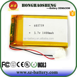 high quality Type Rechargeable batteries 1400mah 603759 3.7v 1500mah lipo battery