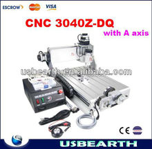 Newest 3040Z-DQ CNC router upgraded from cnc 3040 wood carving machine 3040T-DJ ,cnc engraving machine with 4th axis (a axis)