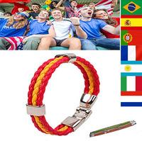 HW438# National Flag Hand Chain World Cup Teams Fans Bracelets Spain Brazil Italy England France Germany Flag Charm Bracelet