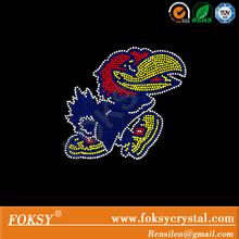 Rhinestone transfer Jayhawk Mascot rhinestone motif applique heat transfer tshirt