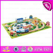2015 Mini wooden toy railway toy train,Children toy thomas train toy,Colorful 46/S Wooden christmas toy train set toy W04D013