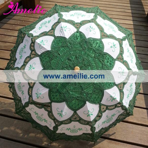 A0101 Christmas  Green lace parasol (2).jpg