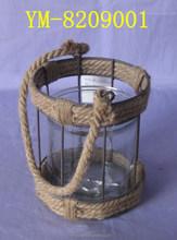 Handmade Metal Lantern with Rope Handle