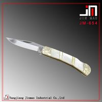 White shell handle pocket folding knife